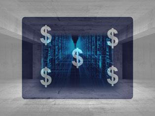 dollar signs over server background